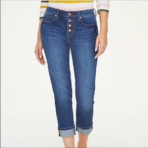 Loft Outlet Original Straight Crop Jeans Buttons